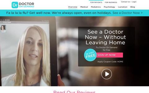 Screenshot of Home Page doctorondemand.com - Urgent Care Doctors & Psychologists - Doctor On Demand - captured Dec. 19, 2015