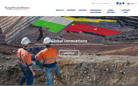 Screenshot of Home Page rpmglobal.com - Mining Software and Mining Consultants - RungePincockMinarco - - captured Aug. 12, 2015