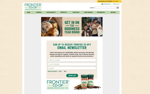 Screenshot of Signup Page frontiercoop.com - E-newsletter Signup | Frontier Co-op - captured Jan. 8, 2016
