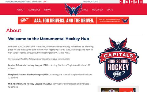 Screenshot of About Page monumentalhockeyhub.com - About - captured July 11, 2018
