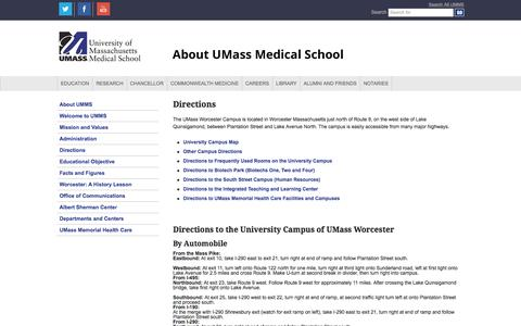 Screenshot of Maps & Directions Page umassmed.edu - Directions to UMass Medical School Campus | UMass Medical School - captured Jan. 30, 2016