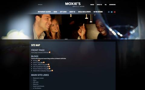 Screenshot of Site Map Page moxies.ca - Site map | Moxie's Grill & Bar - captured Oct. 30, 2014