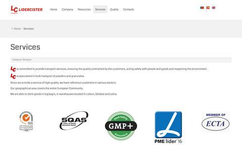 Screenshot of Services Page lidercister.pt - Lidercister, Lda. - Services - captured Nov. 7, 2016