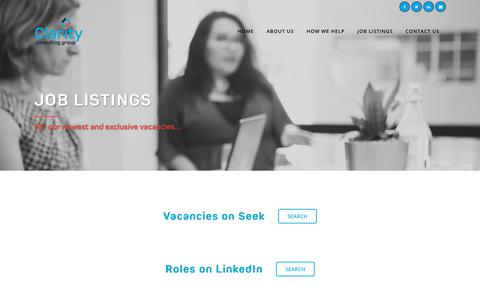 Screenshot of Jobs Page claritynz.com - Job Listings - Clarity Consulting - captured July 31, 2017