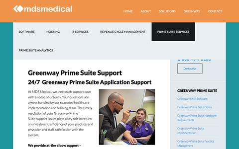 Screenshot of Support Page mdsmedicalsoftware.com - Greenway Prime Suite Support | MDS Medical - captured Sept. 25, 2018