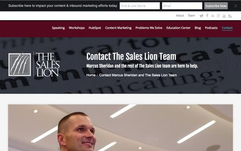 Screenshot of Contact Page thesaleslion.com - Contact Marcus Sheridan and The Sales Lion Team - captured Oct. 2, 2015