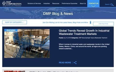 Screenshot of Blog dmpcorp.com - Industrial Wastewater Treatment Solutions | DMP Blog - captured Oct. 7, 2018