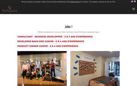 Screenshot of Jobs Page perfluence.com - Jobs — Perfluence - captured July 17, 2018