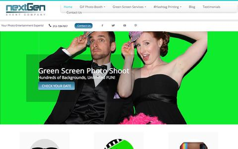 Screenshot of Home Page nextgeneventco.com - Photo Booth Rental NJ-NY-CT GreenScreen + Social Sharing! - captured Sept. 20, 2015