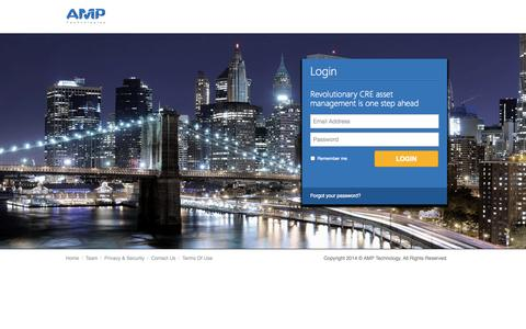 Screenshot of Login Page theamp.com - AMP Technologies - Realestate Managment - captured Sept. 19, 2014