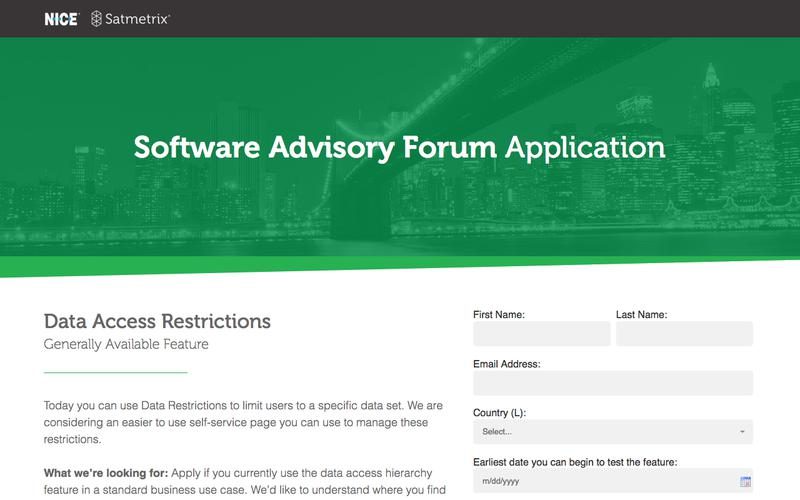 Software Advisory Application: Data Access Restrictions