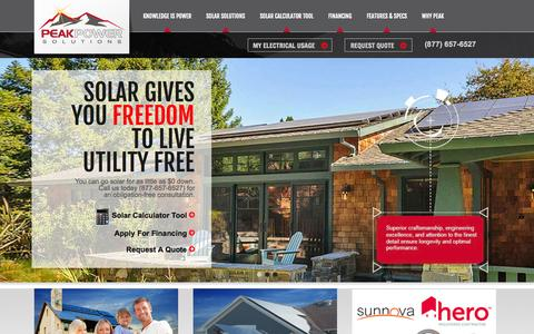 Screenshot of Home Page peakpowerus.com - Peak Powers - Increase The Value of Your Home With Solar - solar panels Riverside CA, solar energy Orange County, Norco home solar systems, solar power system Tustin, Southern California solar rebates, solar companies San Diego CA, solar installation - captured Oct. 2, 2014
