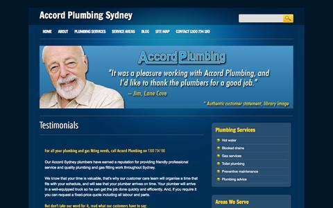 Screenshot of Testimonials Page accordplumbingsydney.com.au - Testimonials | Accord Plumbing Sydney - captured Oct. 4, 2014