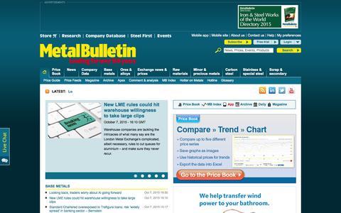 Screenshot of Home Page metalbulletin.com - Global Metal News, Metal Prices & Analysis   Metal Bulletin - captured Oct. 7, 2015