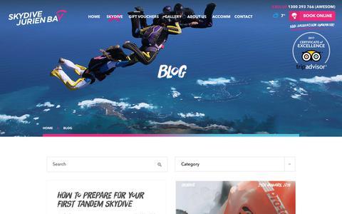 Screenshot of Blog skydivejurienbay.com - Skydiving Blog - Skydive Jurien Bay - captured Sept. 20, 2018