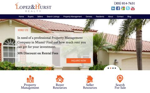 Screenshot of Home Page lopezhurst.com - Miami Property Management and Property Managers, Miami Houses and Homes for Rent | Lopez & Hurst - captured Feb. 1, 2016
