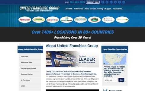 Screenshot of About Page Team Page unitedfranchisegroup.com - Our Team - United Franchise Group - captured Aug. 12, 2016