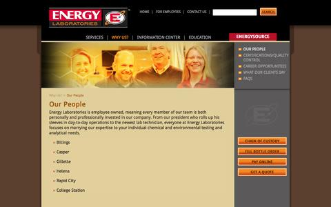 Screenshot of Team Page energylab.com - Our People - Energy Labs Energy Labs - captured Oct. 2, 2014