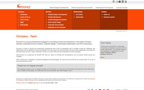 Screenshot of Team Page emovez.com - Web Design and Development, Visual Communication Design and Engineering Team - Company - Emovez World - captured Oct. 2, 2014