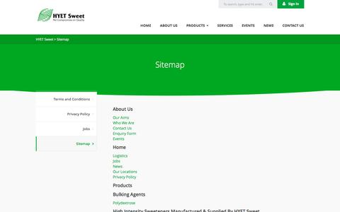 Screenshot of Site Map Page hyetsweet.com - Sitemap | HYET Sweet - captured Jan. 24, 2016