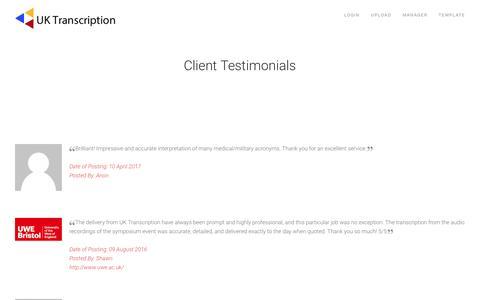 Screenshot of Testimonials Page uktranscription.com - Testimonials - captured May 26, 2017