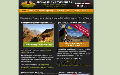 Screenshot of Home Page spanafrican-adventures.co.za - From the Drakensberg / Drakensburg and beyond - Guided hiking and Cycle Tours - captured Sept. 30, 2014
