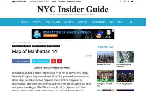 Screenshot of Maps & Directions Page nycinsiderguide.com - Map of Manhattan NY - Detailed New York City Tourist Maps - captured Sept. 28, 2016