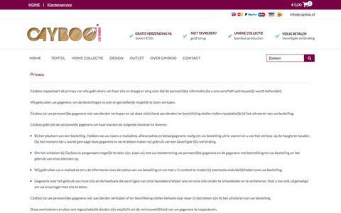 Screenshot of Privacy Page cayboo.nl - Privacy | Cayboo, DE webwinkel voor bamboe textiel, design en (t)huis - captured Dec. 7, 2015