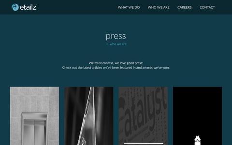Screenshot of Press Page etailz.com - who we are | press - captured April 1, 2016