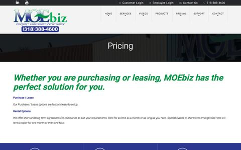 Screenshot of Pricing Page moebiz.biz - Pricing | MOEbiz - captured May 26, 2017