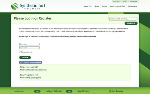 Screenshot of Login Page syntheticturfcouncil.org - Synthetic Turf Council - captured Sept. 21, 2018