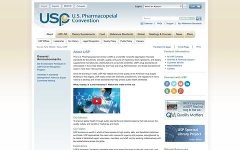 Screenshot of About Page usp.org - About U.S. Pharmacopeia - captured Nov. 17, 2016