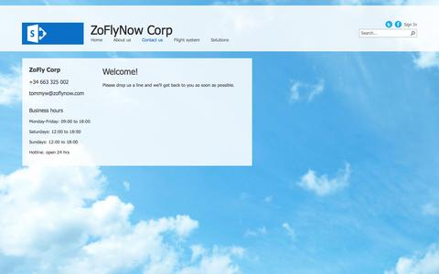 Screenshot of Contact Page zoflynow.com - Contact us - captured Oct. 7, 2014