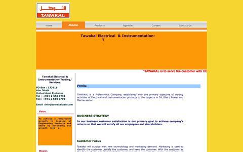 Screenshot of About Page tawakaluae.com - Tawakal  Electrical Equipment Trading - captured Oct. 26, 2014