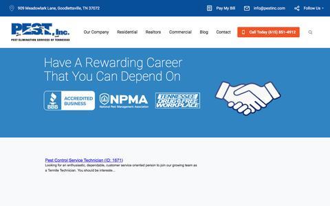 Screenshot of Jobs Page pestinc.com - Careers | PEST Inc. - captured Dec. 26, 2016