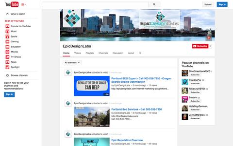Screenshot of YouTube Page youtube.com - EpicDesignLabs  - YouTube - captured Oct. 22, 2014