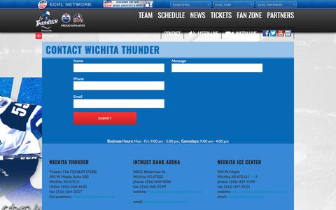 Screenshot of Contact Page wichitathunder.com - Contact Wichita Thunder - Wichita Thunder Hockey - captured Sept. 20, 2018