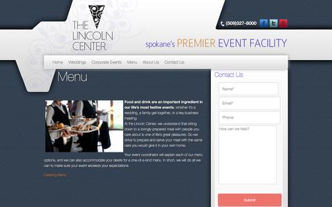 Screenshot of Menu Page thelincolncenterspokane.com - Menu - The Lincoln Center - captured Feb. 25, 2016