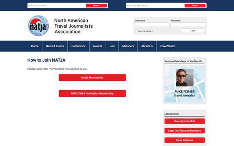 Screenshot of Signup Page natja.org - Join - captured Sept. 21, 2018