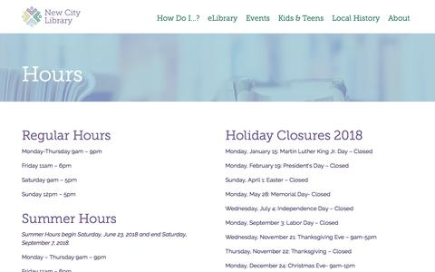 Screenshot of Hours Page newcitylibrary.org - Hours - New City Library - captured July 14, 2018