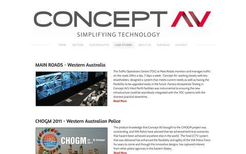 Screenshot of Case Studies Page conceptav.com.au - Audio Visual Supplier Perth - Concept AV - captured July 15, 2016