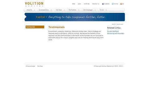 Screenshot of Testimonials Page volitioncapital.com - Volition Capital :: Testimonials - captured Oct. 1, 2014