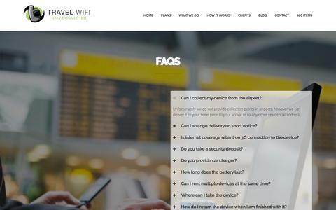 Screenshot of FAQ Page travelwifi.ie - FAQs   Travel Wifi   Travel Wifi - captured Feb. 24, 2016