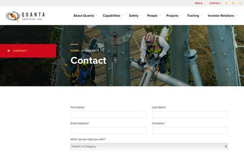 Screenshot of Contact Page quantaservices.com - Contact - Quanta Services - captured May 18, 2019