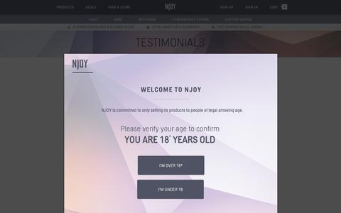 Screenshot of Testimonials Page njoy.com - NJOY Electronic Cigarettes Testimonials | NJOY - captured Oct. 21, 2015