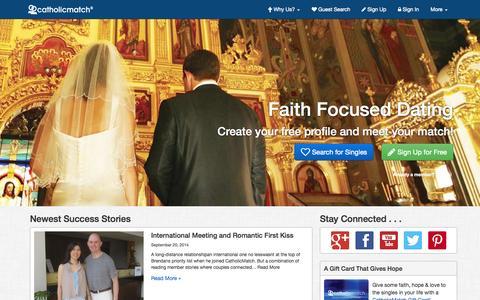 Screenshot of Home Page catholicmatch.com - Catholic Dating and Catholic Singles | CatholicMatch.com ® - captured Sept. 23, 2014