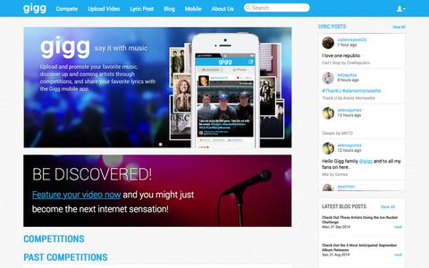 Screenshot of Home Page gigg.com - gigg | Say It With Music - captured Sept. 17, 2014