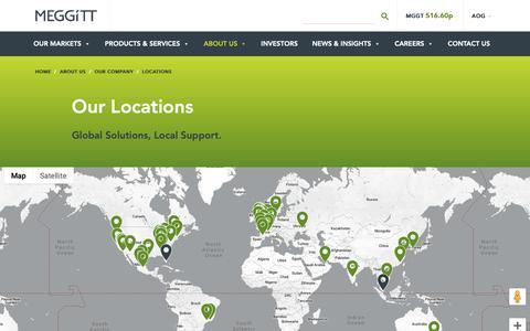 Screenshot of Locations Page meggitt.com - Locations - Meggitt - Enabling the Extraordinary - captured Oct. 21, 2018