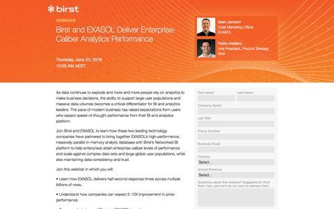 Screenshot of Landing Page birst.com - Birst | Birst and EXASOL Deliver Enterprise-Caliber Analytics Performance - captured June 20, 2016
