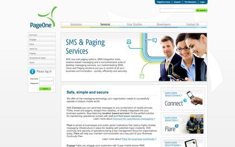 Screenshot of Services Page pageone.co.uk - Paging, 2 Way SMS Gateway, Messaging & Business SMS Service | PageOne - captured Oct. 8, 2014
